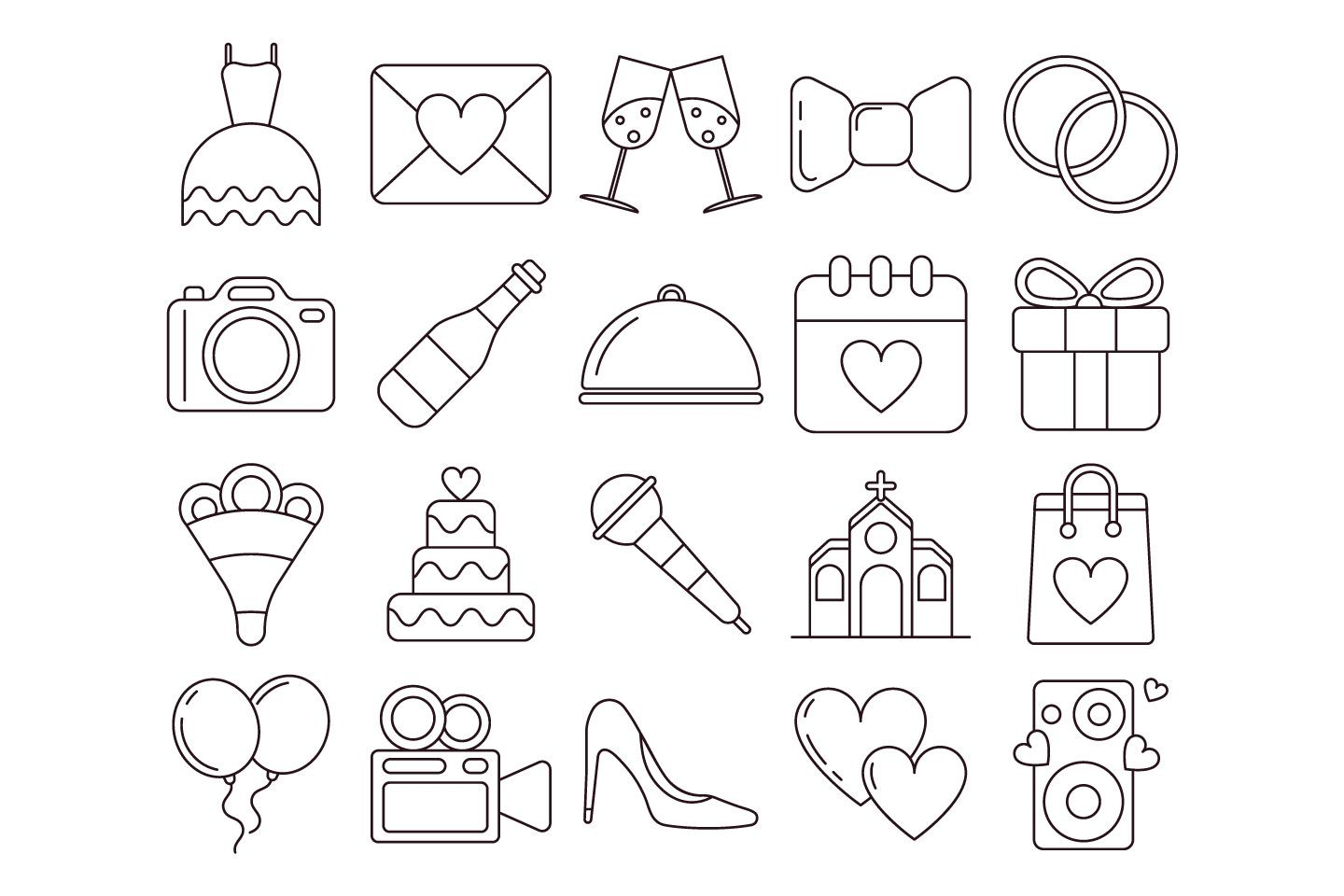 Wedding Vector Free Icon Set in 2020 Vector free, Icon