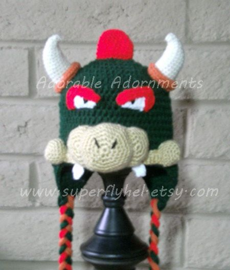 Bowser hat httpsetsylisting215068071bowser hat bowser hat crocheted bowser beanie gamer hat by superflyhel dt1010fo