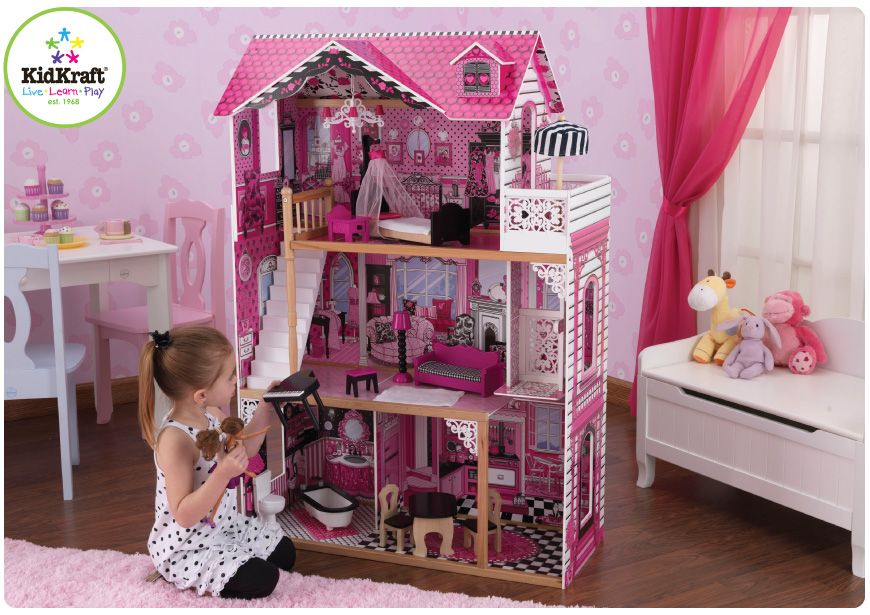 Kidkraft Amelia Doll House For Barbie Pink Furniture Wood Wooden Large New 65093