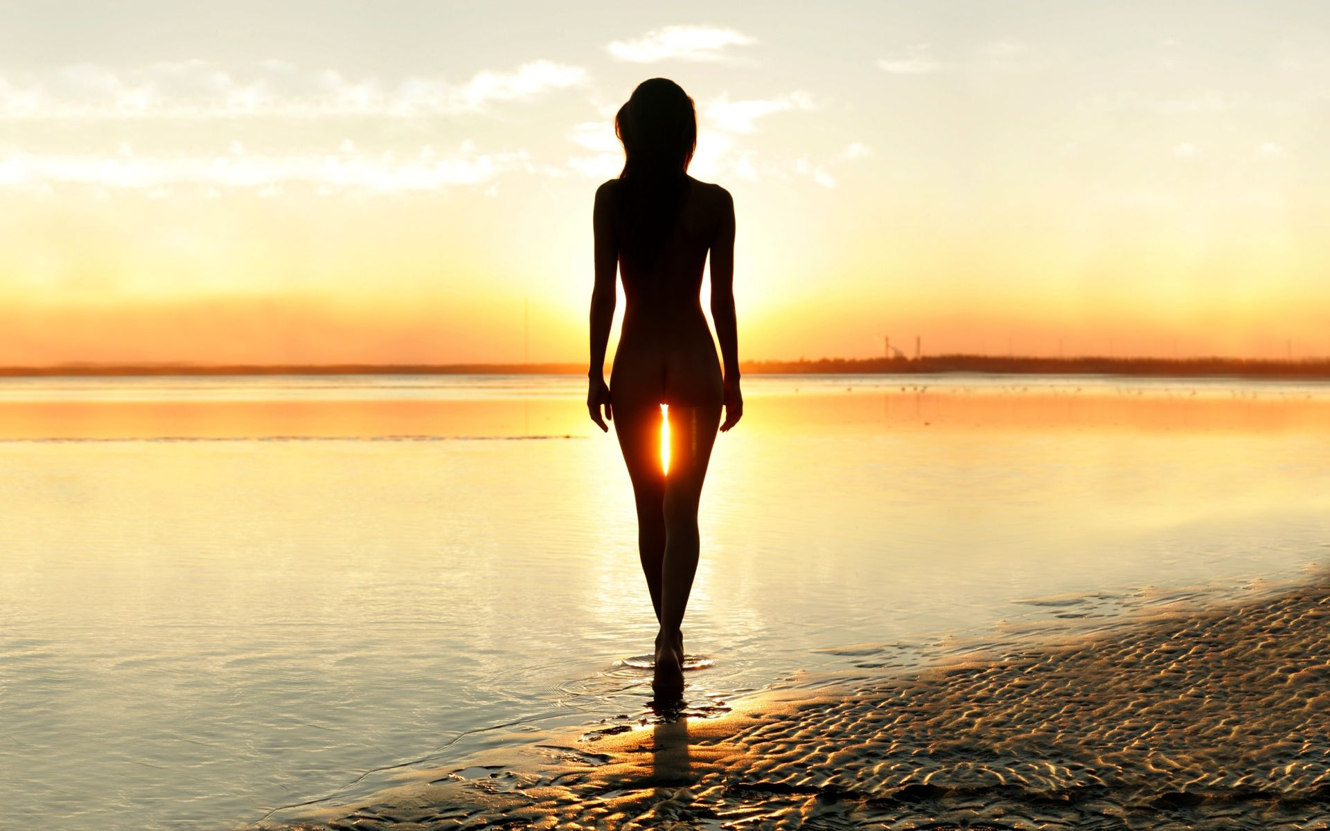 beach sunset silhouette girl Nude