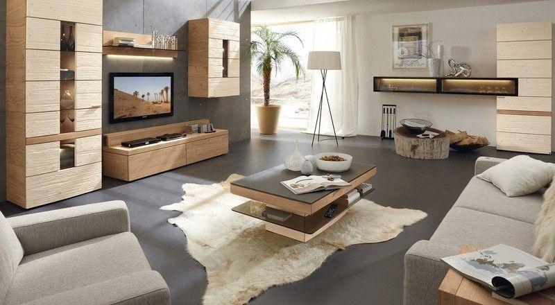 Wohnwand Ideen Echtholz Eiche hell modernes Wohnzimmer