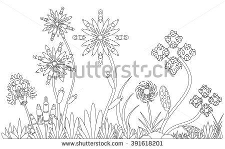 pattern with abstract flowers coloring book page for adult - Coloring Book Flowers