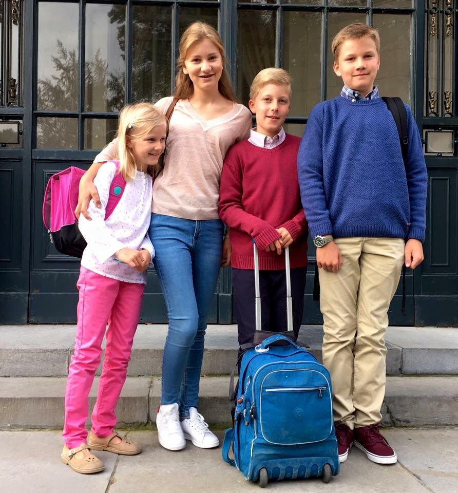 Belgian Royal Palace (@MonarchieBe) on Twitter:  It was the first day of school for the Belgian Royal children, September 1, 2016-Princess Eléonore, Princess Elisabeth, Prince Emmanuél, and Prince Gabriel