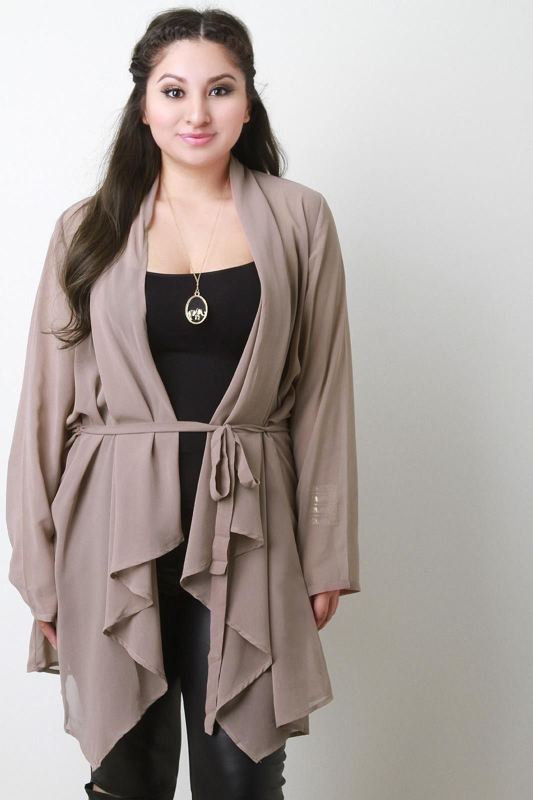 Waist-Tie Chiffon Open Front Long Sleeves Cardigan | Products ...