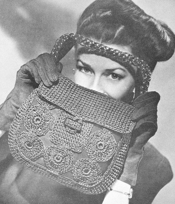 Vintage 1940s Merry Widow Crochet Corde Handbag Pattern