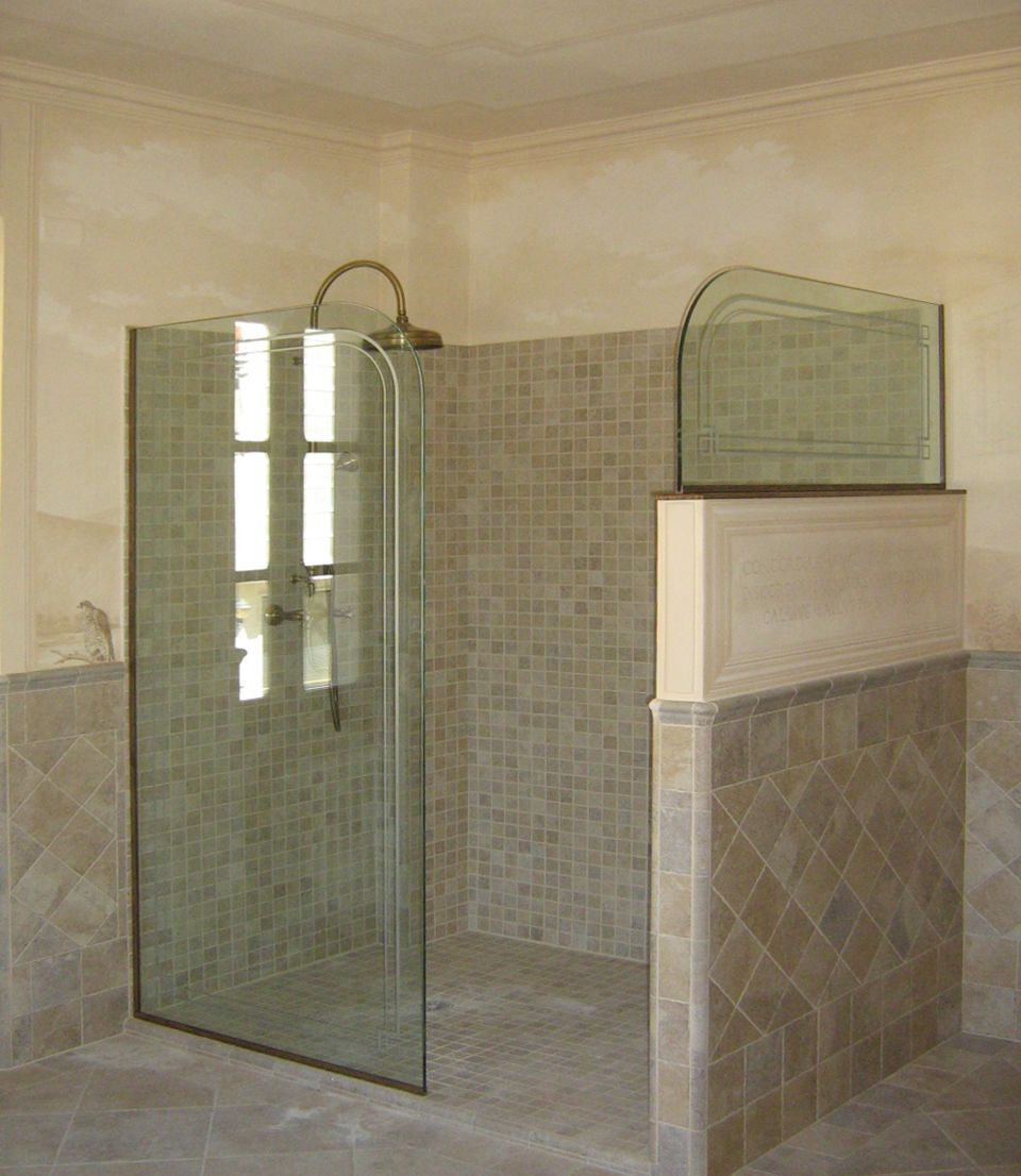 Pareti In Vetrocemento Per Bagni : Parete per doccia in cristallo stratificato trasparente con ...