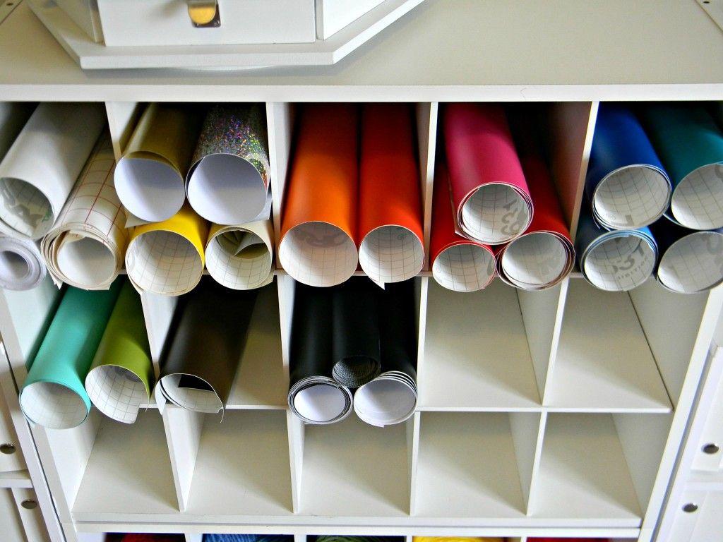 vinyl roll storage - old shoe cubby