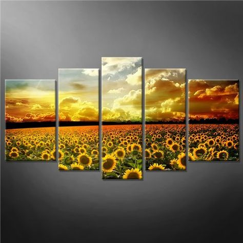5 Panel Yellow Orange Wall Art Painting Beautiful Yellow Sunflowers ...