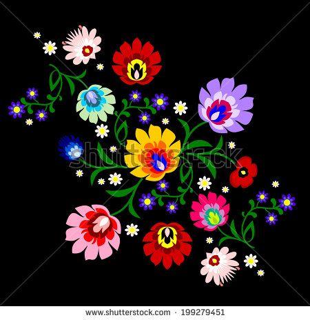 Traditional Polish Folk Floral Pattern Folk Art Flowers
