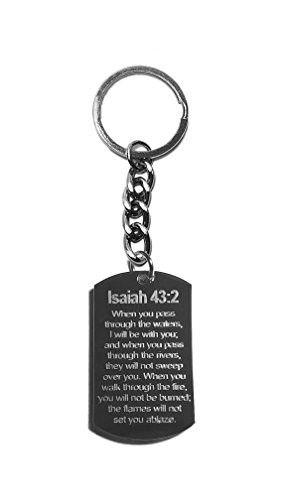 fbf55fb9c Isaiah 43 2 Bible Verse - Metal Ring Key Chain Keychain