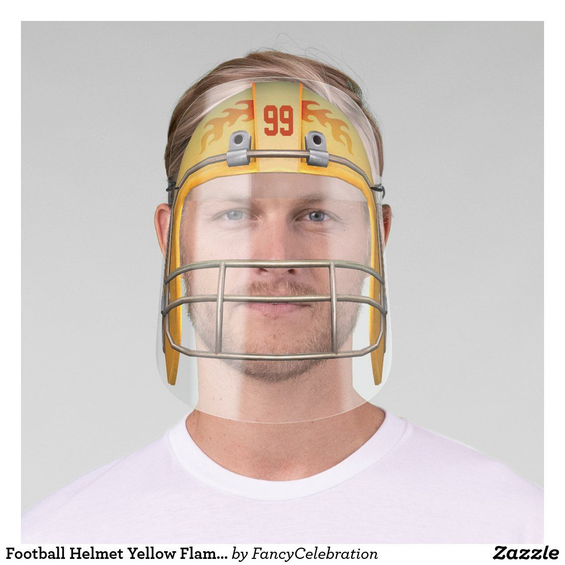 Football helmet yellow flames with custom number face