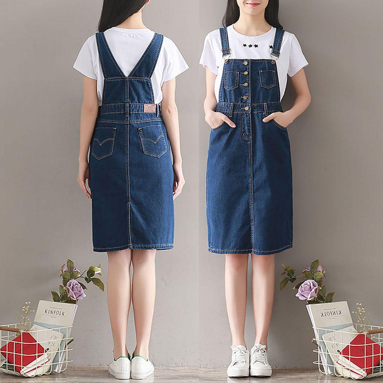 cb5ac17e38 2017 Women Casual Denim Strap Dungaree Knee-Length Dress Jeans Overalls  Skirts
