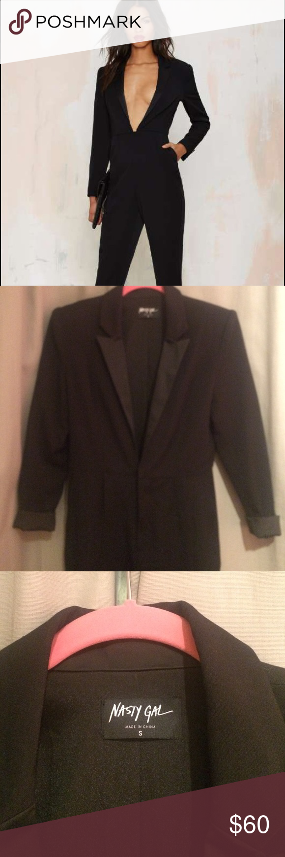 29574088e12 Nasty Gal Like a Boss Tuxedo Jumpsuit Only worn once!!! Size small but runs  a bit large. Deep v front