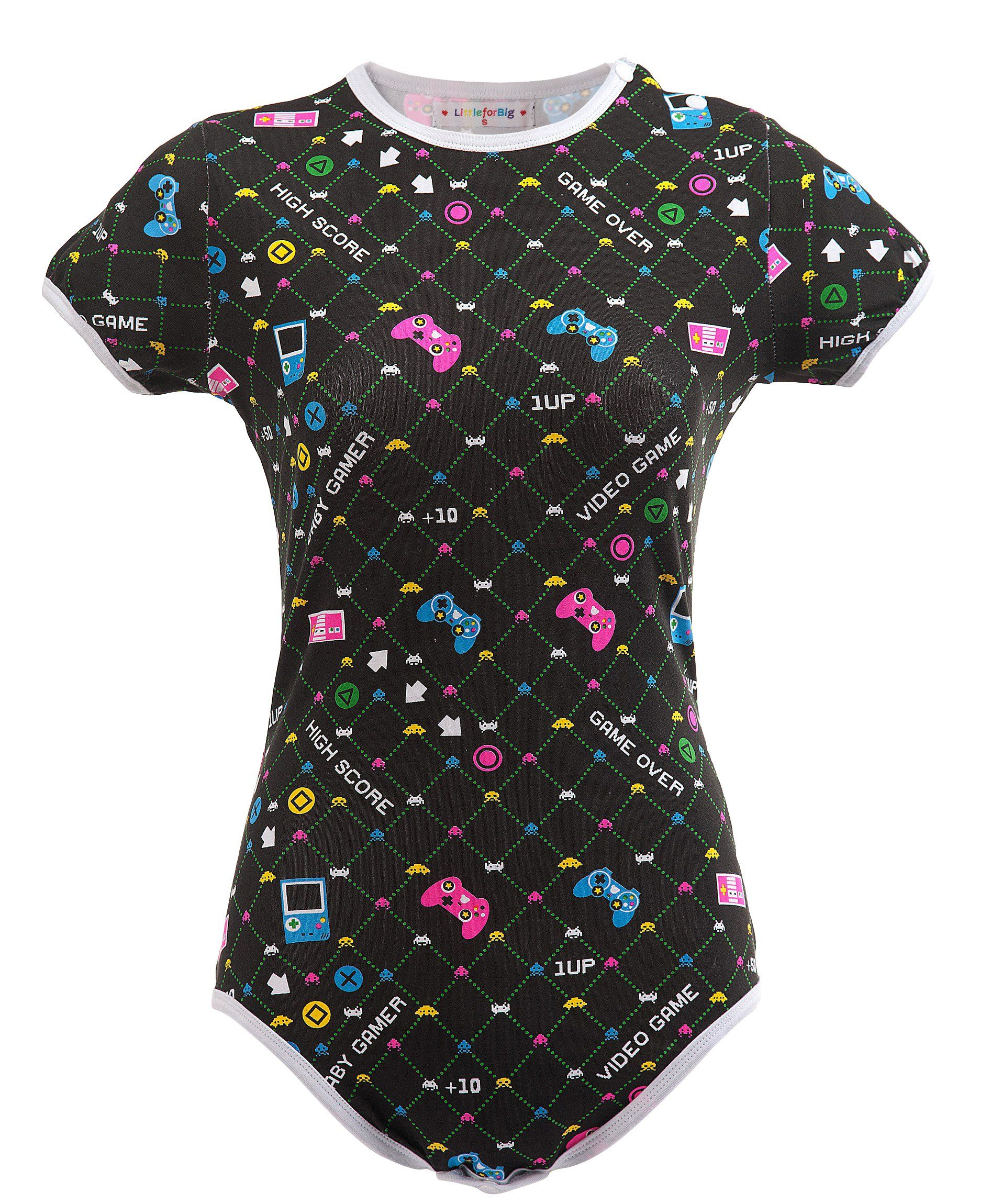 68dba5c8cb Littleforbig Adult Baby Diaper Lover Snap Crotch Romper Onesie Baby Gamer  Onesie XS Black    Continue to the product at the image link.