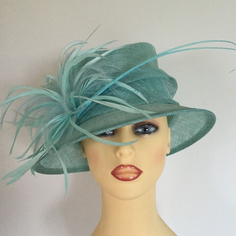 6464ef8c54997 Ladies Wedding Hat Races Mother Bride Ascot Hat Mint Green Feathers by  Maddox