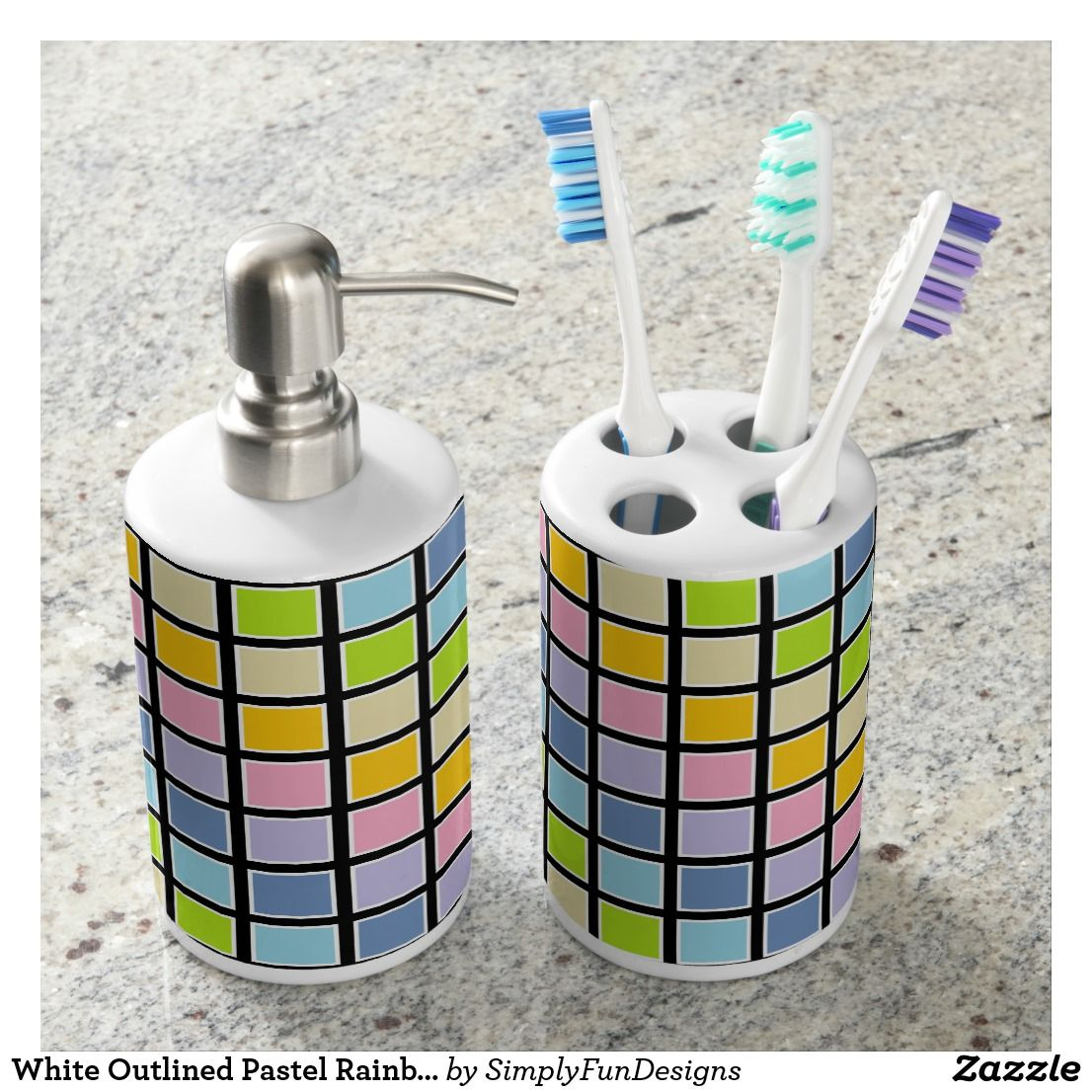 White Outlined Pastel Rainbow Squares Soap Dispenser And Toothbrush Holder