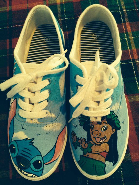 ab3bfc925174d LILO and Stitch hand painted tennis shoes in 2019 | Products | Lilo ...