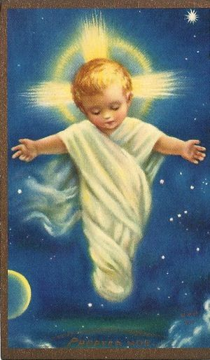 """Propter Nos"" Holy Card (Latin for:  ""on account of us""), created in 1935 by Mother Margaret Mary Nealis R.S.C.J. of the Society of the Sacred Heart in Canada"