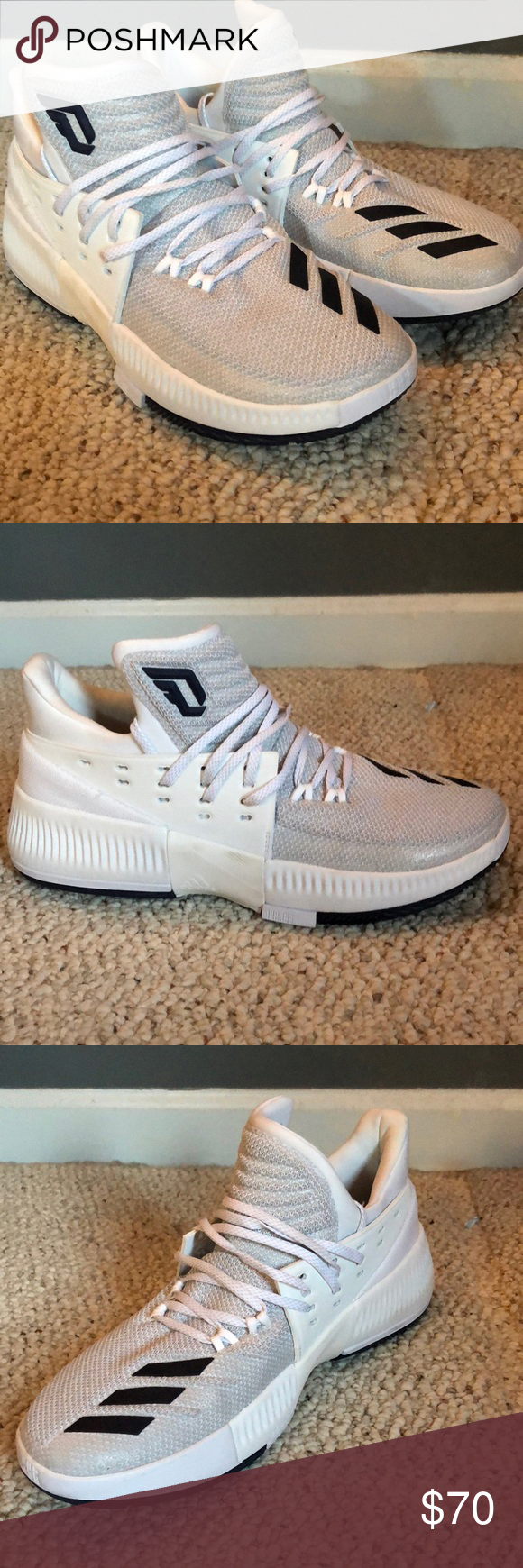 NEW  Adidas Damian Lillard Basketball Shoes New and never worn for training  or competition. White and navy low tops. Men s Size 9.5 adidas Shoes  Athletic ... e86261c4a