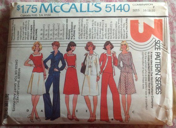 15c485b51df9 Vintage 1970s Shirt-Jacket Dress or Top Skirt   Pants McCalls 5140