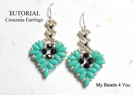 Beading Tutorials And Patterns Beaded Heart Drop Earrings Tutorial Pdf Superduo Seed Beads Pattern Easy Jewelry Making Instructions Earring Tutorial Beaded Earrings Patterns Beaded Earrings Tutorials