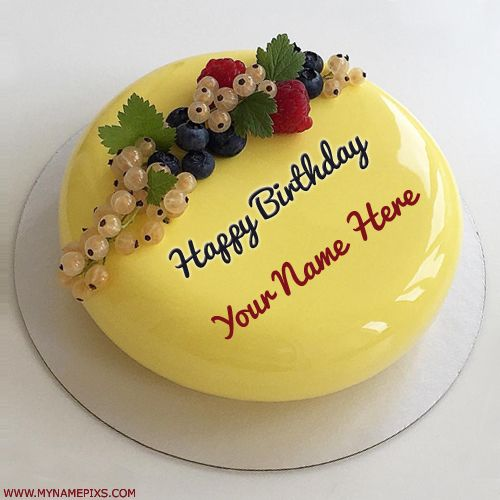Beautiful Yellow Fruit Birthday Wishes Cake With Name