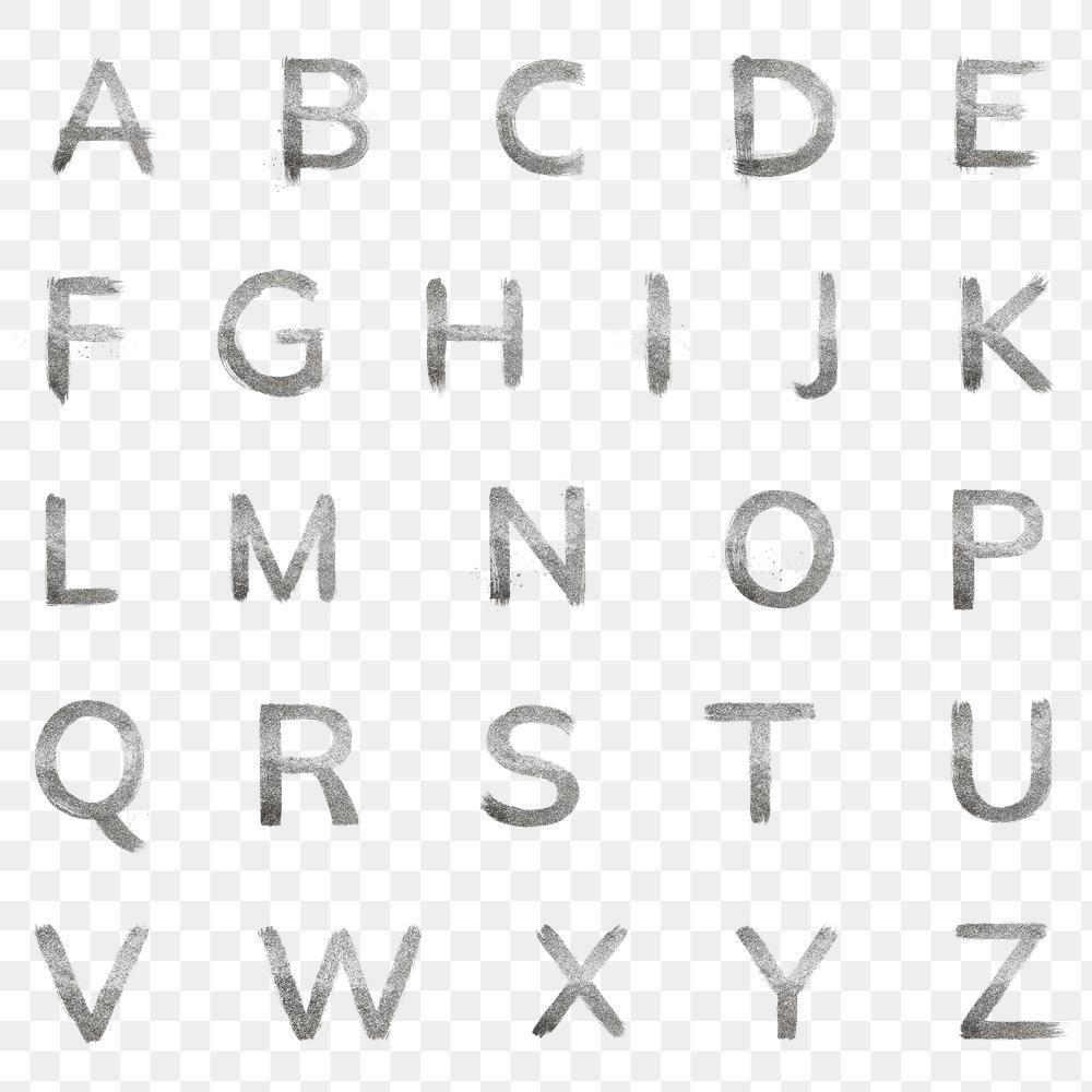 Silver Glitter Alphabet Png Brush Stroke Free Image By Rawpixel Com Hein Silver Glitter Brush Stroke Png Alphabet