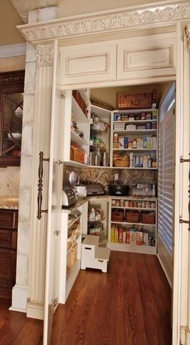 counter inside pantry to store appliances Shelves above heater in back room for …