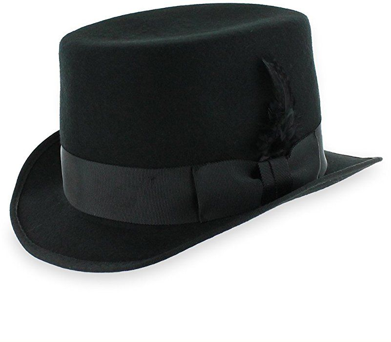 7422601f8c4 Belfry Slash Crushable Soft Men s Wool Felt Top Hat in Black (Large) at  Amazon Men s Clothing store
