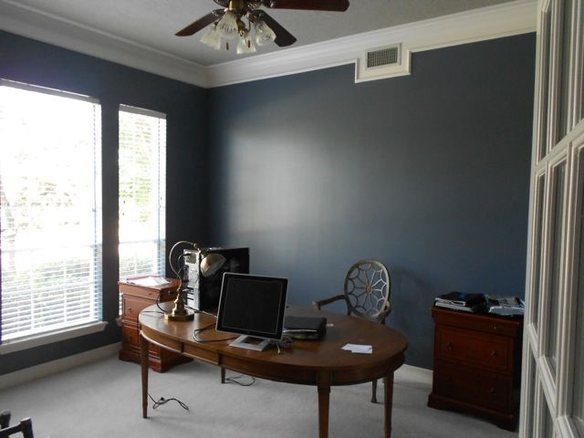 Wall color sherwin williams granite peak and trim Masculine paint colors