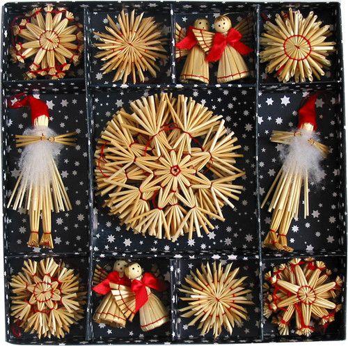 Scandinavian Swedish Straw Christmas Ornaments 38 Pc Bx We