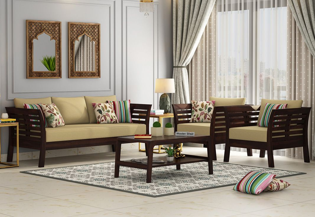 Buy Darwin Wooden Sofa Set Walnut Finish Online In India Wooden Street In 2020 Living Room Sofa Design Wooden Sofa Set Wooden Sofa Set Designs