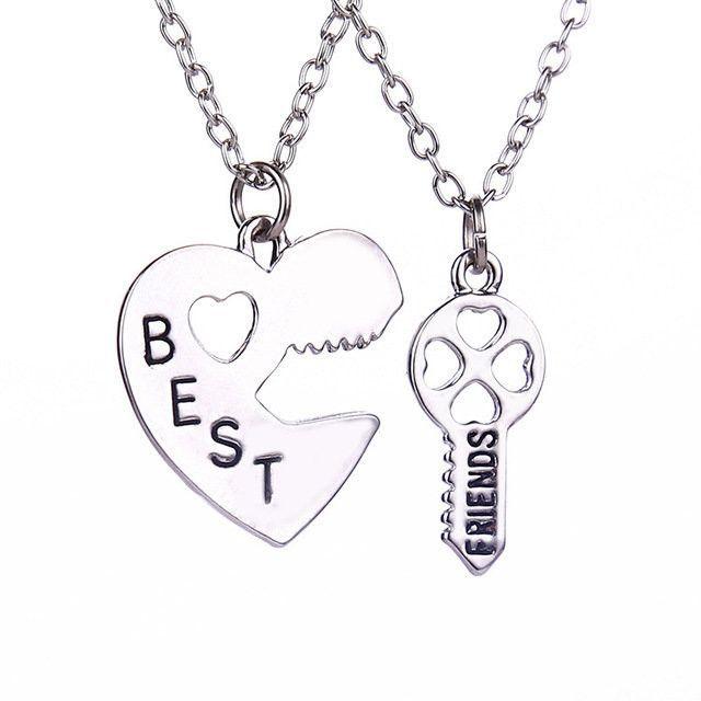 2Pcs Best Friends Letter Heart Keychain Necklace