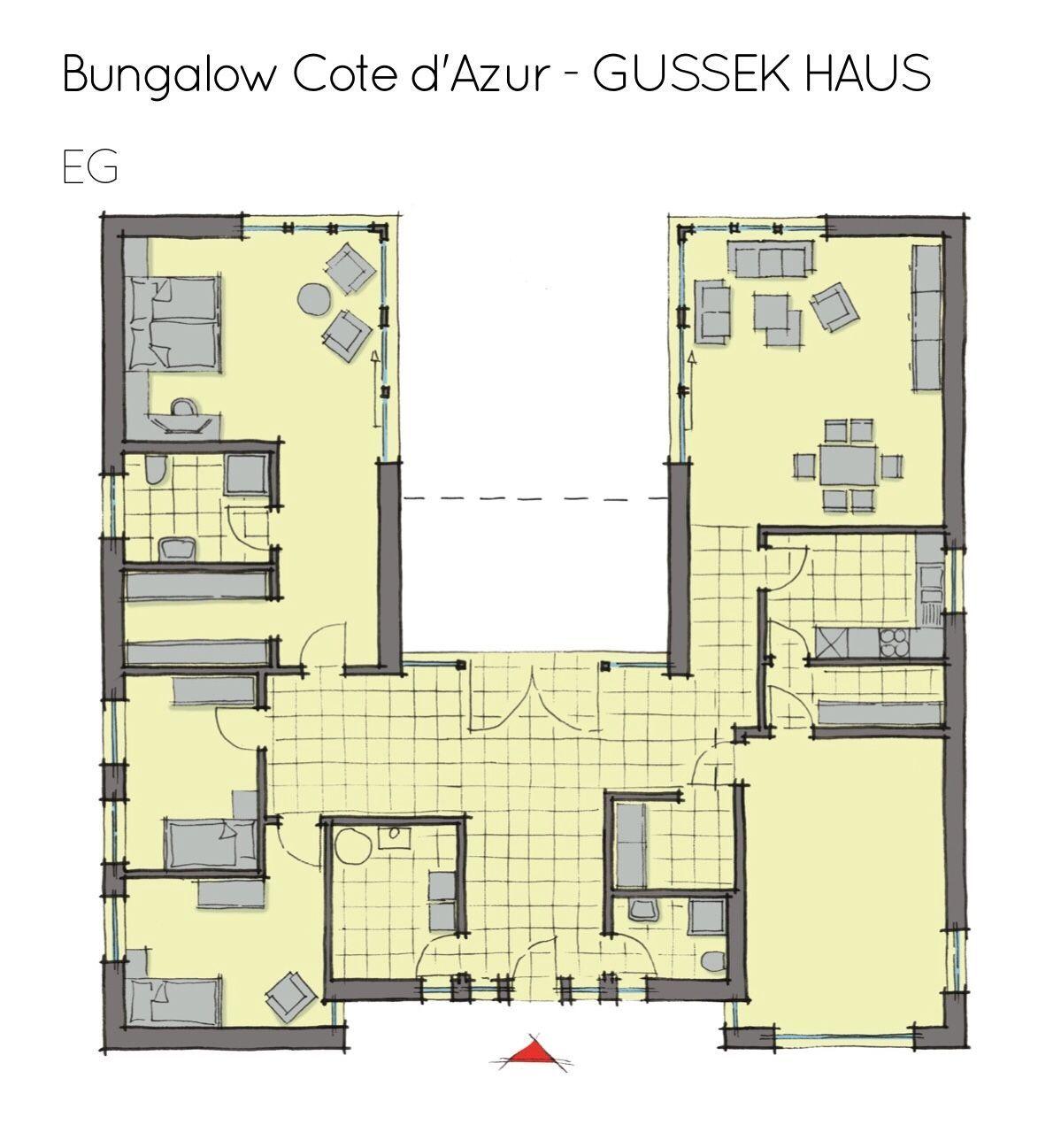 Grundriss Bungalow Barrierefrei Mit Innenhof Garage 4 Zimmer