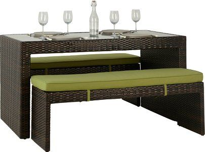 Jakarta 3 Piece Deluxe Bench Dining Set