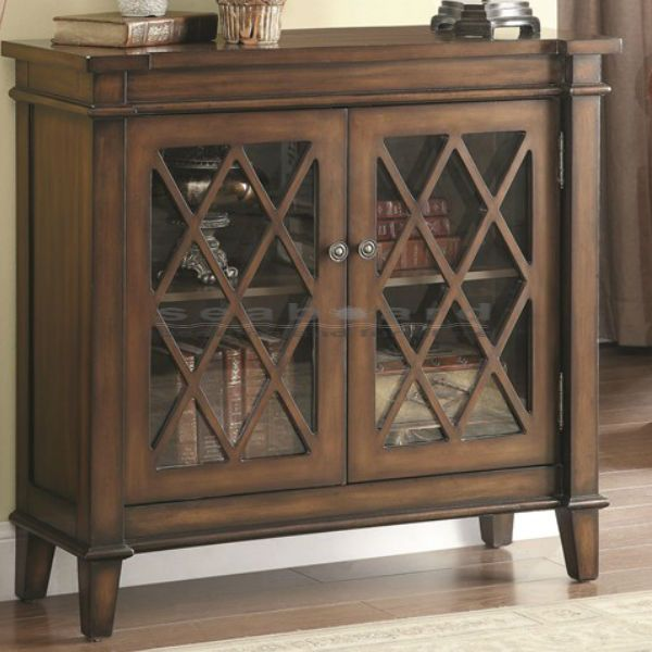 Display books and decorative objects with this Coaster Vintage Lattice  Overlay Accent Cabinet 950348. The - Display Books And Decorative Objects With This Coaster Vintage