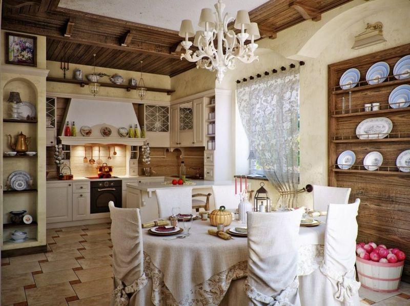 französischer landhausstil kueche esszimmer rustikal atmosphaere