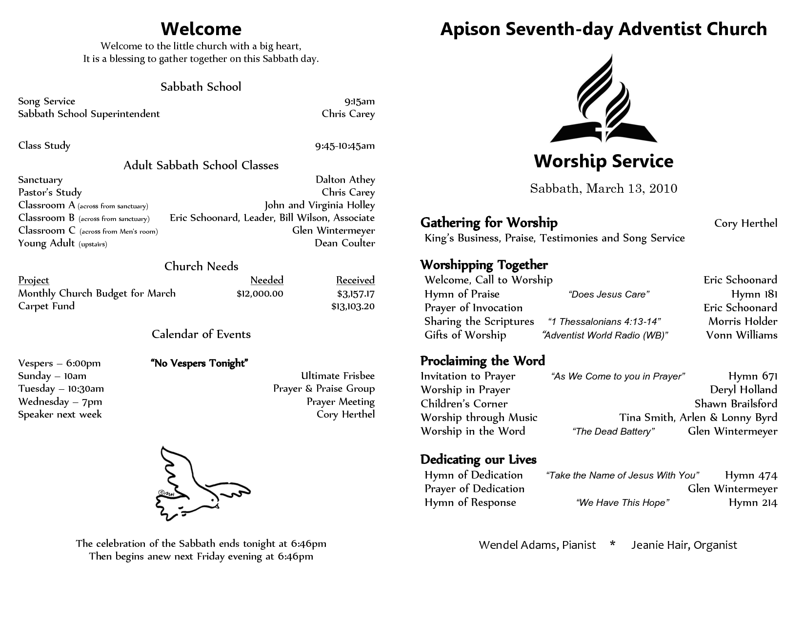 Awesome Seventh Day Adventist Church Bulletin Templates  Ideas