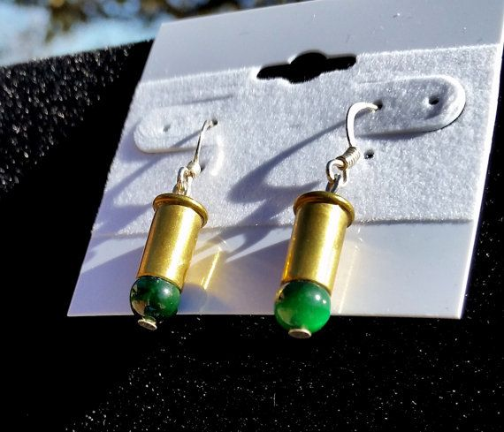 Green Tiger Eye Bullet Earrings Bullet Earrings by blazingembers