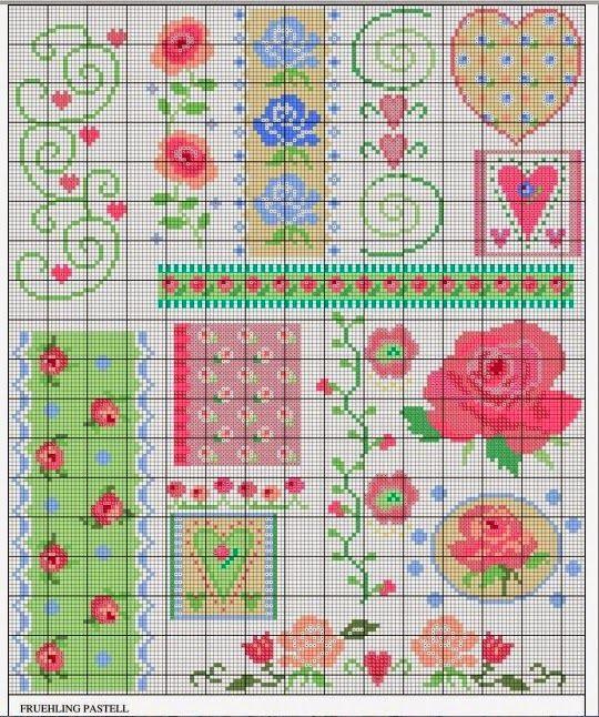 Gráfico rosas para bordar ponto cruz