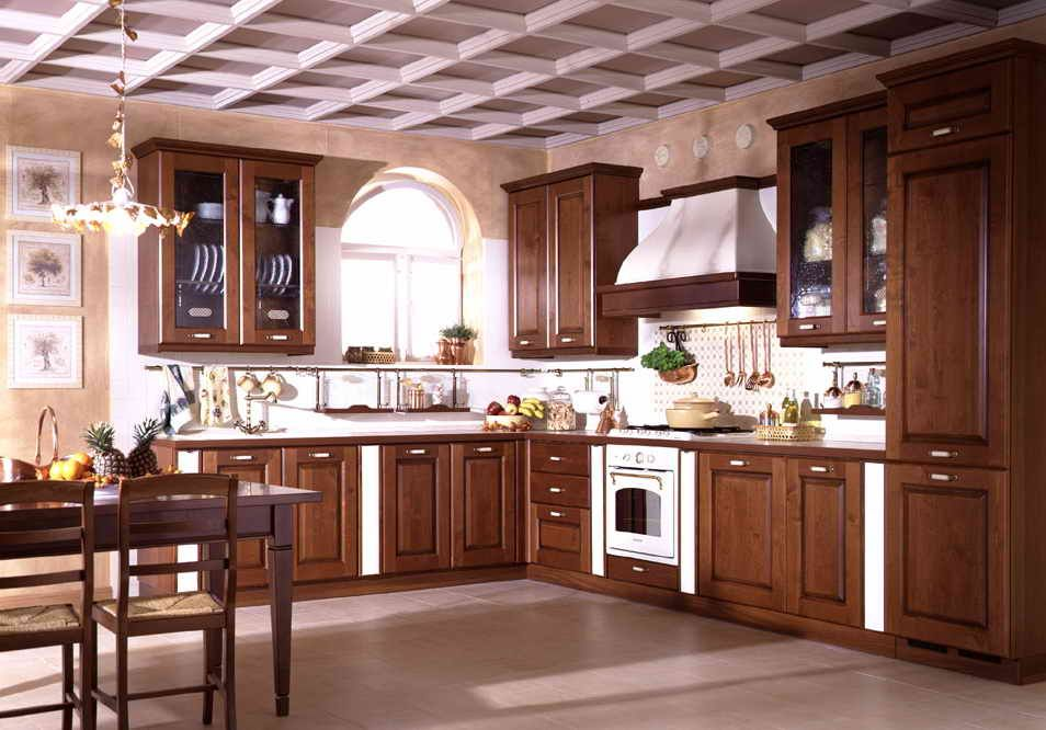 Modern House Solid Wood Kitchen Cabinet Oak Door Desain Dapur Kecil Desain Lemari Dapur Desain Dapur