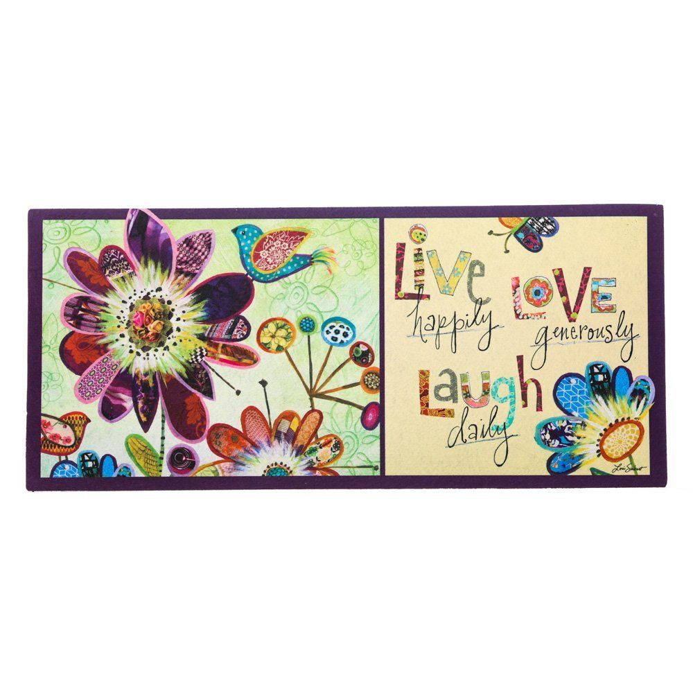 Sassafras Decorative Insert Mat 10x22 Inches Live Love Laugh Final Call For This Special Discount Doormats Evergreen Flags Door Mat Live Love
