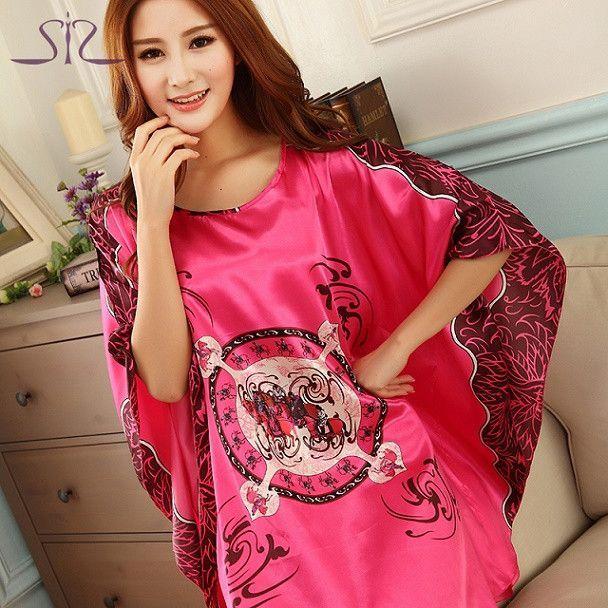 SpaRogerss Fashion Nightgowns Sleepshirts 2017 Plus Size Silk Lady ...