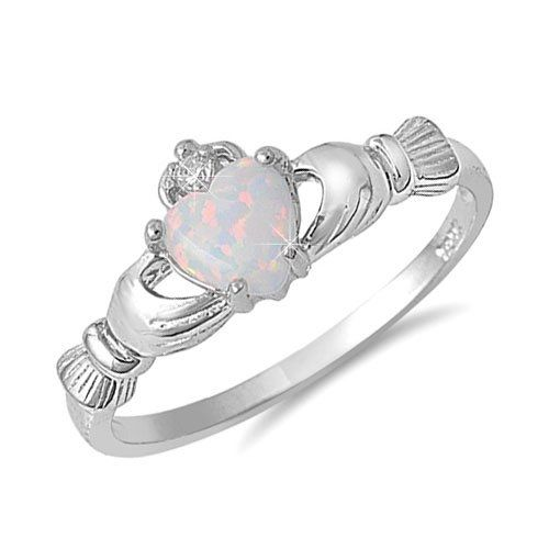 Sterling Silver Heart Shaped Opal Claddagh Ring Sizes 3 to 10 by bettyaria