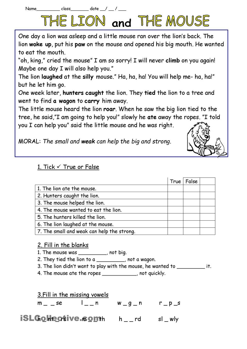 worksheet The Gift Of The Magi Worksheet english worksheet the lion and mouse adapted mouse