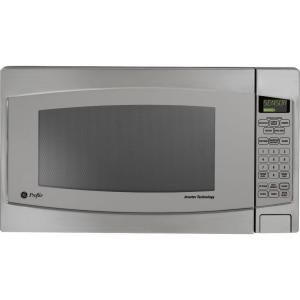 Ge Profile 2 2 Cu Ft Countertop Microwave In Stainless Steel With Defrost And Sensor Controls Jes2251sj The Home Depot Countertop Microwave Oven Countertop Microwave Stainless Steel Oven