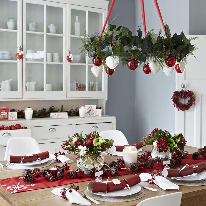 Scandi Christmas Shot For Asda Photography Jon Day Styling Pippa Ja Christmas Chandelier Christmas Ceiling Decorations Christmas Table Decorations