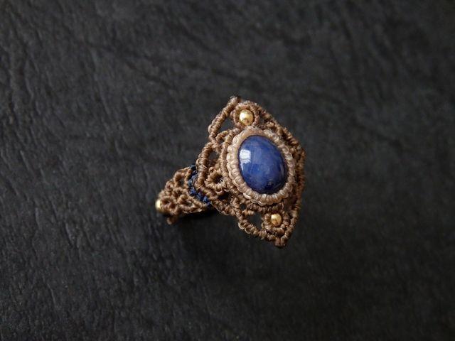 . · ˖ * ✩⡱ δαχτυλίδι ζαφείρι μακραμέ