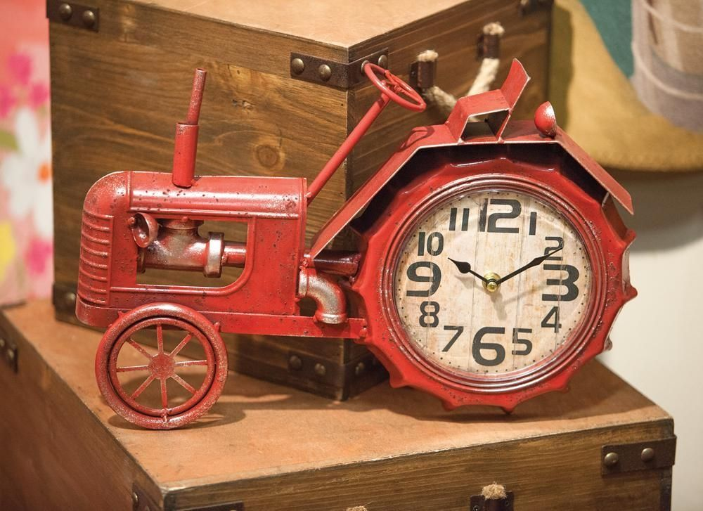Table Clock Shaped Like And Old Fashioned Antique Red Farm Tractor.