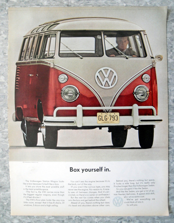 1963 VOLKSWAGEN STATION WAGON COMBI KOMBI AD ART PRINT POSTER